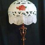 "Victorian Rose Floor Lamp Large bushel gourd with three handpainted roses, lace and pearl appliques and 4"" white fringe."