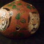 Jungle Cats Lamp - Tiger & Leopard side Large lamp with 4 hand painted jungle cats amid vining leaves.