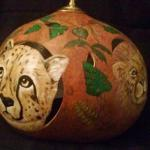 Jungle Cats Hanging Lamp Cheetah and Lion side