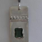 "Green Tourmaline -  $140 Natural 5x7mm  emerald cut tourmaline on sterling silver rectangle.on 20"" sterling silver chain."