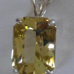 "Canary Citrine - $90 11.59 ct, 12x16mm Natural Canary Citrine on 20"" sterling silver chain."