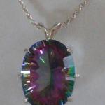 "Natural Mystic Topaz - $60 10.35 ct Oval Mystic Topaz on 20"" sterling silver chain."
