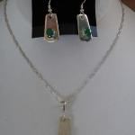 Natural Emerald Necklace and Earring Set - $400 Three 5x7mm natural emeralds set in sterling silver.